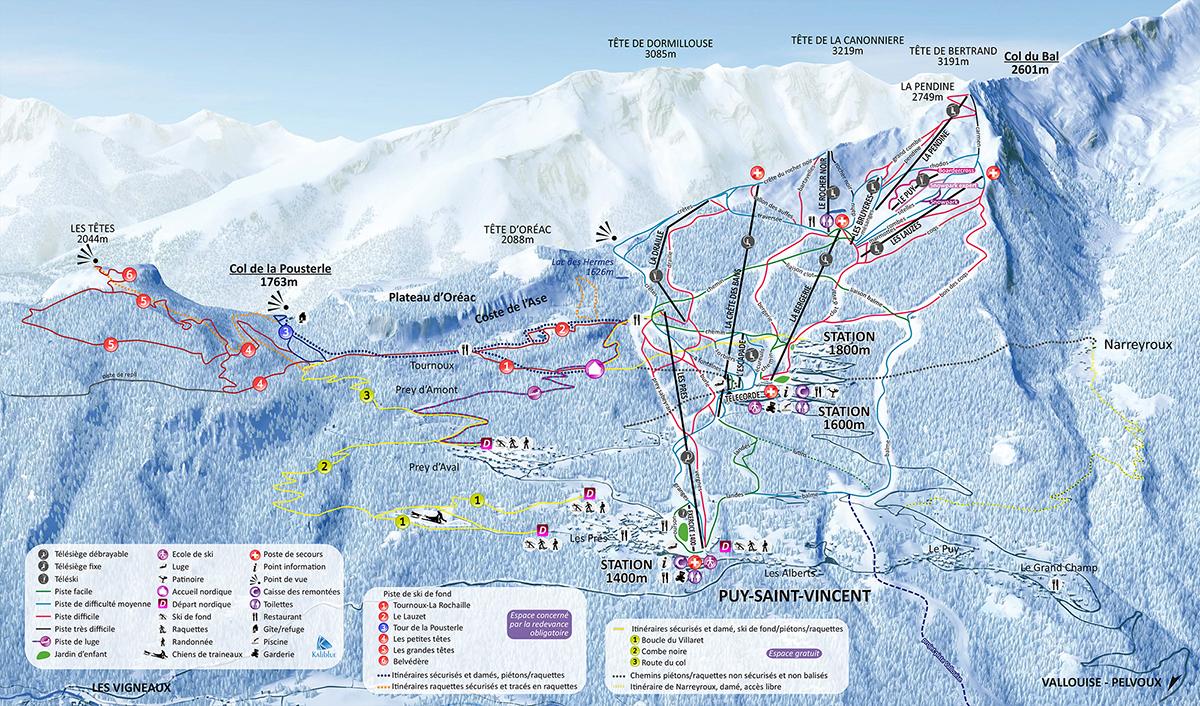 Plan des pistes Puy Saint Vincent