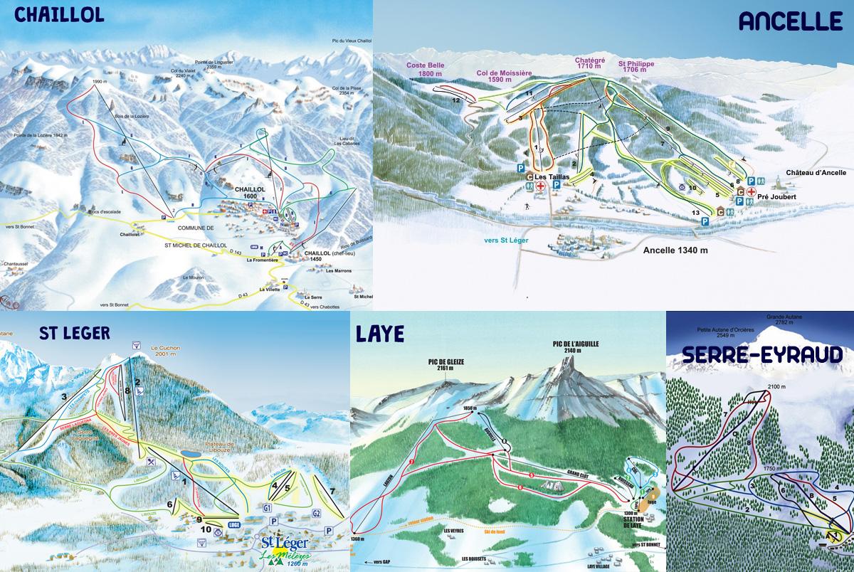 Plan des sations de ski du Champsaur