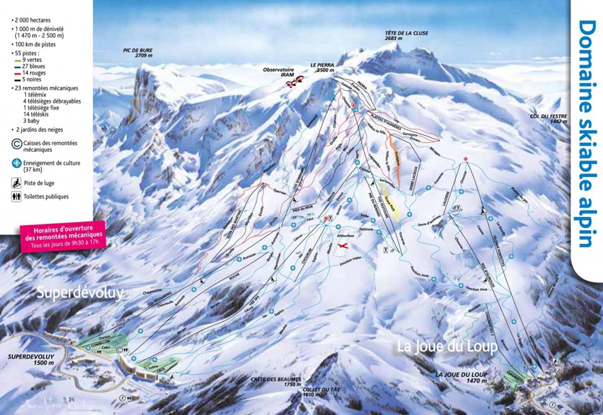 Plan des pistes Dévoluy SuperDécoluy La Joue du Loup