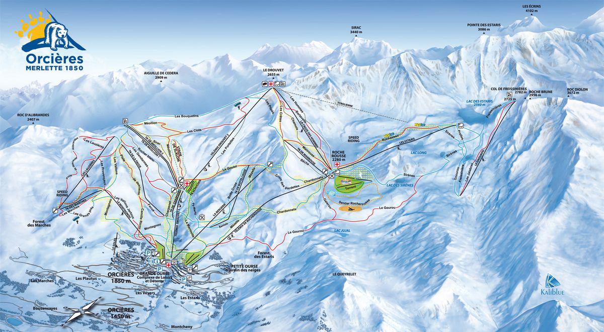 Plan des pistes Orcières Merlette 1850