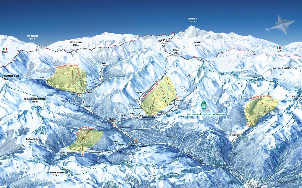 Plan des pistes des stations villages du Queyras