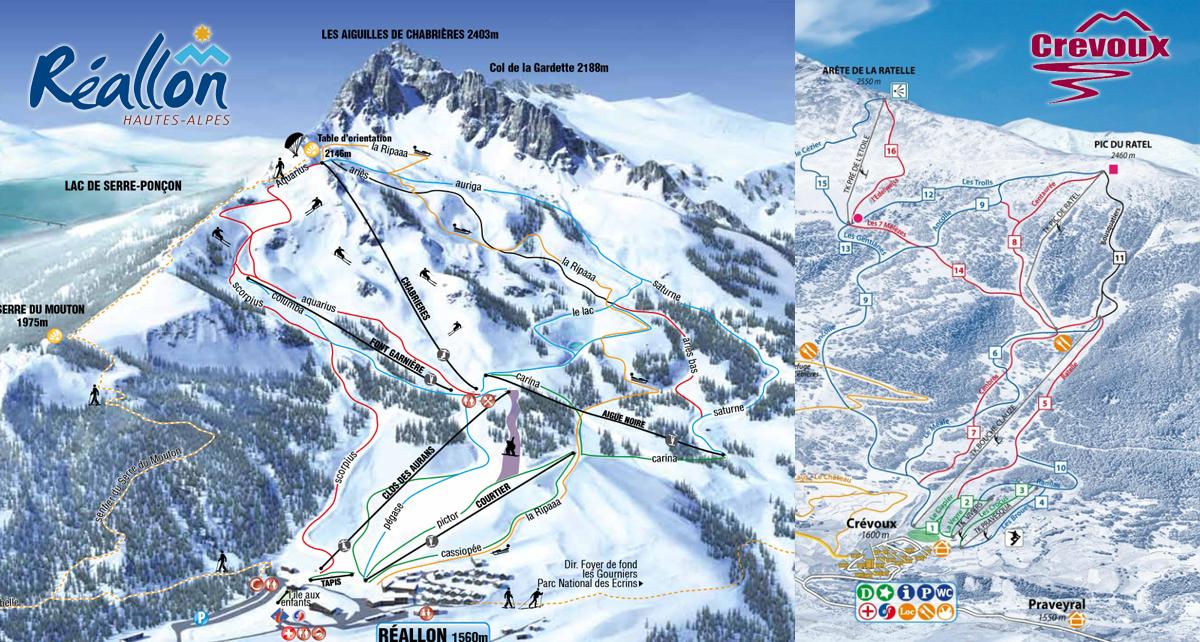 Plans des pistes Réallon Crévoux